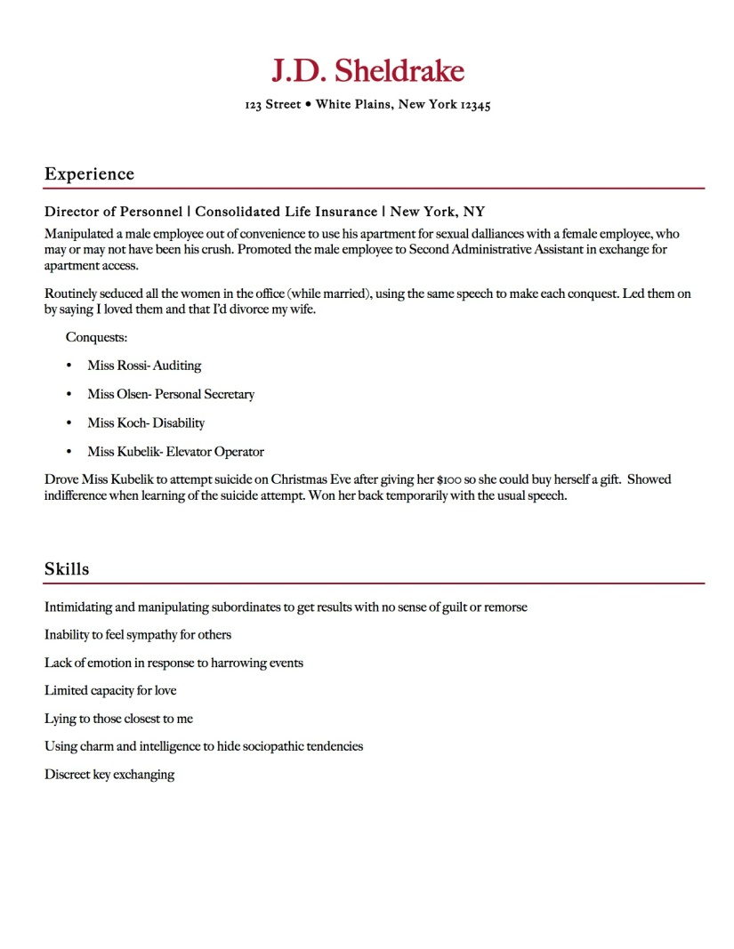 sheldrake villain resume